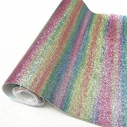 "ZAIONE 7 Color 10"" x 53""  Roll Rainbow Stripe Fine Glitt"
