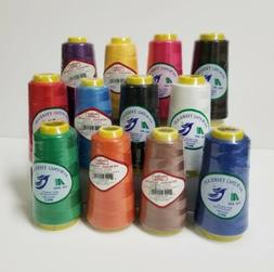 12 Big Spools Sewing Thread Polyester ASSORTED COLORS 2400 y