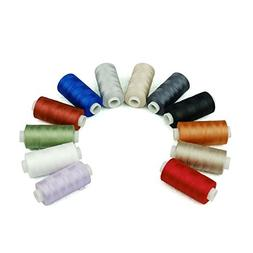 Simthread 12 Multi Colors 100% Cotton Sewing Thread 50s/3 Th