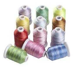 12 Variegated Color Polyester Embroidery Machine Thread for