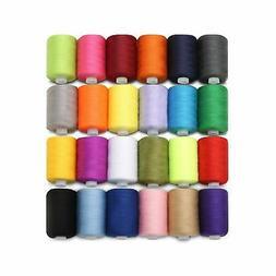 KINGSO 24 Assorted Colors Polyester Sewing Thread Spool 1000