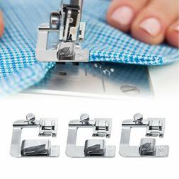 """3pack 1/2"""" 3/4"""" 1"""" Sewing Machine Presser Foot Set Rolled He"""