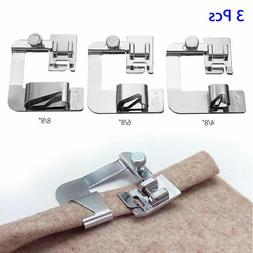 3x/Set Wide ROLLED HEM Hemmer Foot For Domestic Sewing Machi