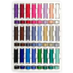 40WT100% Cotton 24 Assorted Thread Spools&24 Plastic Matchin