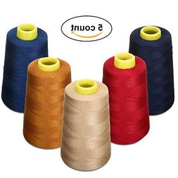 KINGSO 5 Assorted Polyester Sewing Thread Sets Spool,Serge