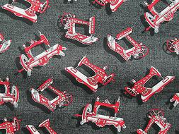 ANTIQUE SEWING MACHINES RED BLACK SEWING ITEMS COTTON FABRIC