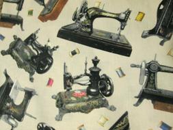 ANTIQUE SEWING MACHINES THREAD CREAM COTTON FABRIC FQ