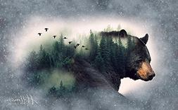 Bear/Forest Fabric Panel - Call of The Wild Digital Print -