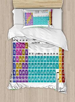 Full Bedding Sets for Boys, Periodic Table Duvet Cover Set,