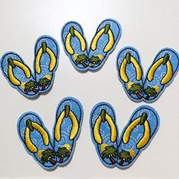 10pcs Blue Beach Shoes Flip Flops Iron On Sew On Cloth Embro