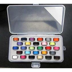 Bobbin Box Organizer With 28 Bobbins Threaded Assorted Color
