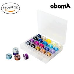 Amado 25 Pieces Bobbins and Sewing Thread with Case, Multico