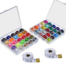 NEW 50-Pcs-Bobbins-and-Sewing-Thread-w-Case-Brother-Singer-B