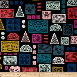 Cotton + Steel Boo Paper Parade Fabric by the Yard, Black