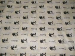BTY SINGER Sewing Machines on Cream 100% Cotton Quilt Fabric