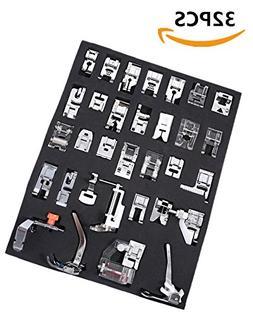 Vranky 32 PCS Professional Domestic Sewing Foot Presser Feet