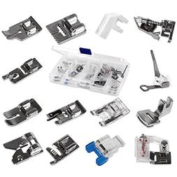 Nuolux 14pcs Domestic Sewing Machine Metal Presser Foot for