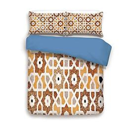 Duvet Cover Set,BLUE BACK,Antique,Detail of Inlay and Geomet