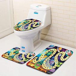 MTSJTliangwan Family Bathroom Set of 3, Bathroom Rug + Conto