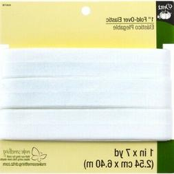 Dritz 9387W Fold-Over Woven Elastic, White, 1-Inch by 7-Yard