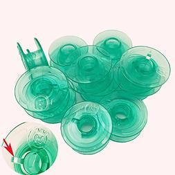 FQTANJU 12 Pieces Green Transparent Plastic Bobbins - #41256