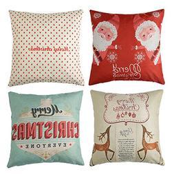 Xorastra 4pk Happy Holidays Print Throw Pillow Cases Christm