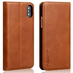 iPhone X Case, VISOUL Genuine Leather Wallet Case Business F