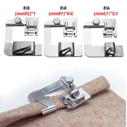 3Pcs Wide Rolled Hem Hemmer Foot For Domestic Sewing Machine