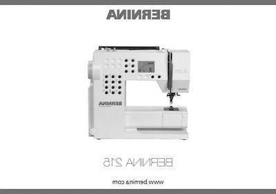 bernina 215 sewing machine owners instruction manual