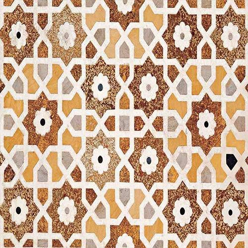 iPrint Set Inlay and Geometric Carvings Asian Taj Architecture Orange 3 Bedding by 2 Shams