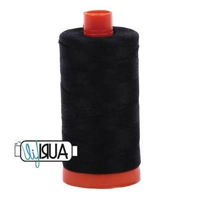 Aurifil Cotton Mako 50wt Quilting Thread-2692 Black-1422 yar