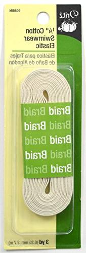 Dritz 9385N Cotton Swimwear Braided Elastic, Natural, 1/4-In