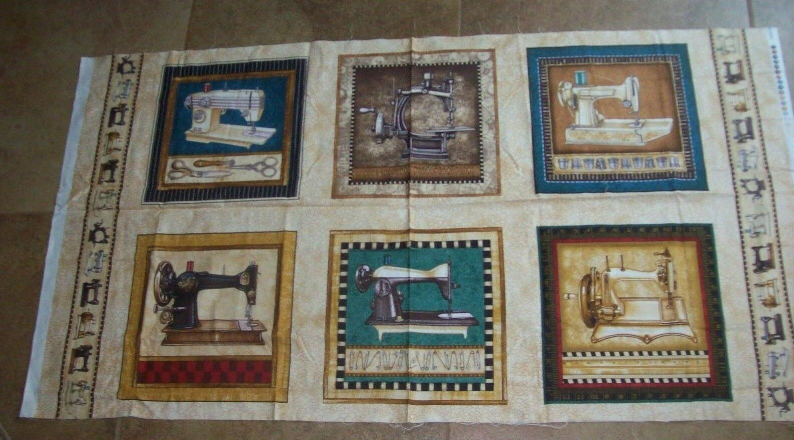 fabric vintage sewing machines cotton panel featherweight