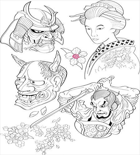 Kabuki Piece Sets for - Twin Soft Lightweight Brushed Microfiber, Warrior Japanese Woman Drawings Sakura