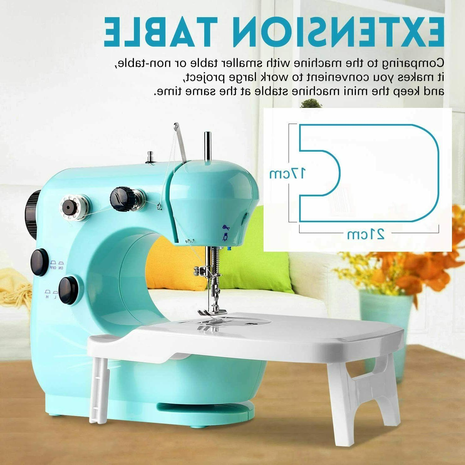 2 Speed Mini Portable Sewing Machine with Extension Table fo