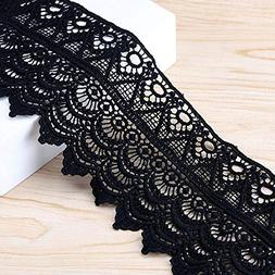 VU100 Lace Edge Trim 4 Inch Wide Venice Embroidered, 2 Yards