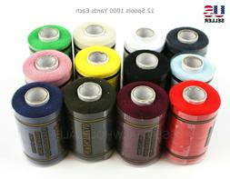 Lot 12 Spools Sewing Thread Polyester Assorted Colors 1000 Y