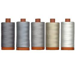 Aurifil Mako' Cotton 50 wt Thread, Quilter's Ideal Set of 5