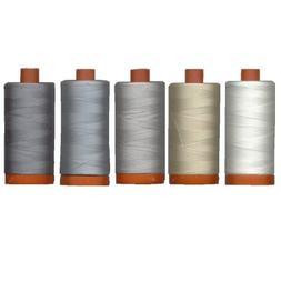 Aurifil Mako' Cotton 50 wt Thread, Quilter's Ideal Set of 5