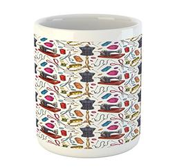 Lunarable Fashion Mug, Pattern with Cartoon Tailoring Equipm
