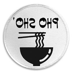 "Pho Sho - 3"" Sew / Iron On Patch Noodles Soup Funny Joke Hum"