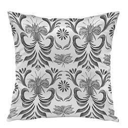 oFloral Pillow Covers Cases Black And White Pattern Pillowca