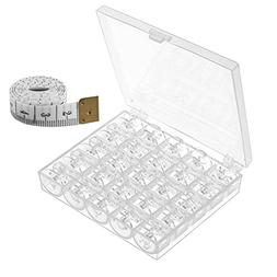 25 Pcs Plastic Sewing Machine Bobbins with Case and Measurin