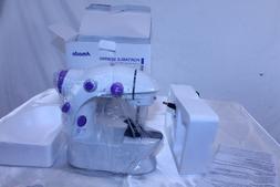 "Portable Sewing Machine White with Purple Trim 8"" x 8"" x 4"""
