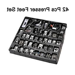 Luckkyme 42 pcs Presser Feet Set with Manual for Brother, Ba