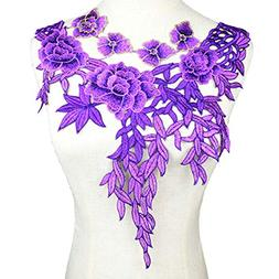 Purple Embroidered Lace Applique Wedding Dress Lace Trims Fa