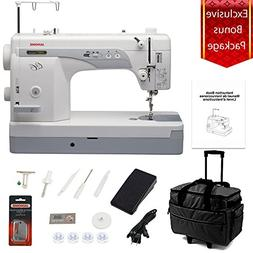 Janome 1600P-QC Sewing/Quilting Machine Bundle with Rolling