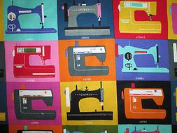RETRO SEWING MACHINES COLORS BLOCKS COTTON FABRIC BTHY