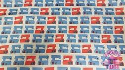 Sew Dressed Up Sewing Machines Navy Blue Red Cotton Fabric B