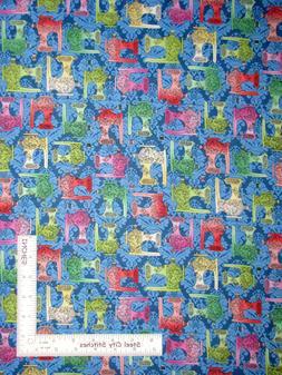 Sew Theme Sewing Machines Blue Tonal Cotton Fabric Follies Q